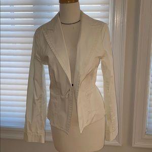 White cotton banana republic structured jacket